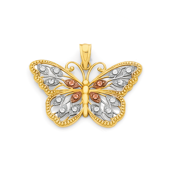 9ct Gold Tri Tone Butterfly Pendant