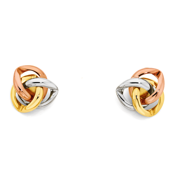 9ct Gold Tri Tone Celtic Stud Earrings