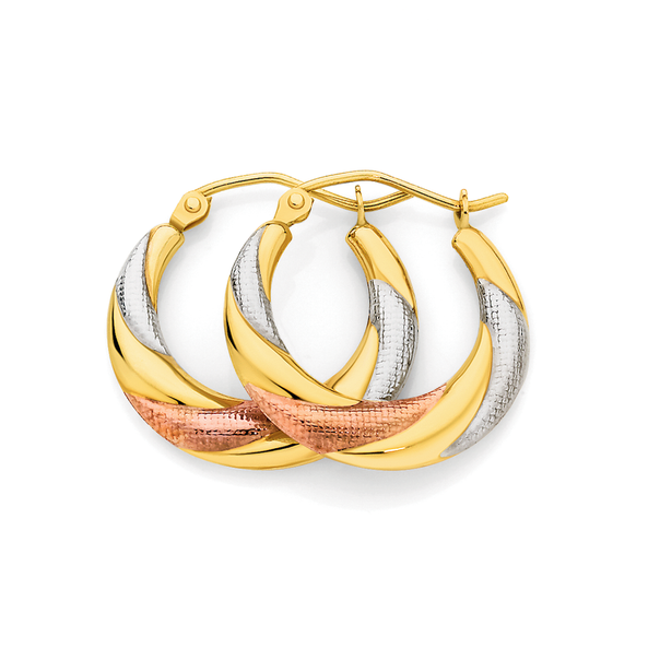 9ct Gold Tri Tone Creole Earrings
