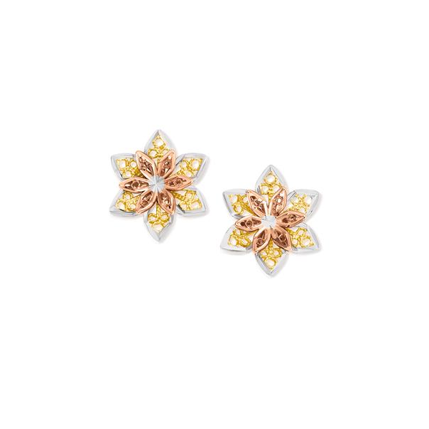 9ct Gold Tri Tone Flower Stud Earrings