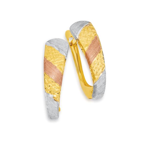 9ct Gold Tri Tone Huggie Earrings
