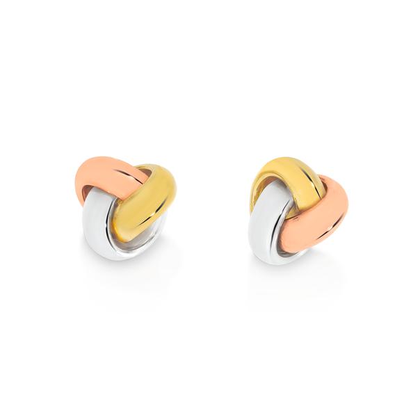 9ct Gold Tri Tone Love Knot Stud Earrings