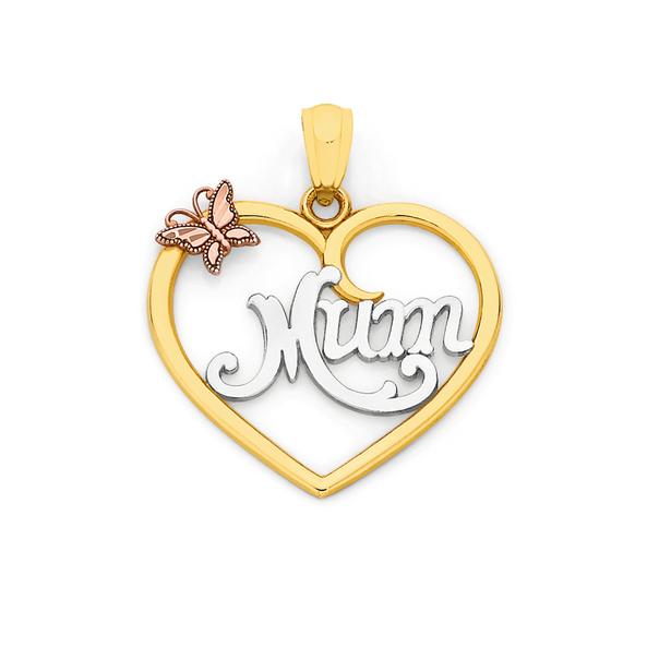 9ct Gold Tri Tone 'Mum' Pendant