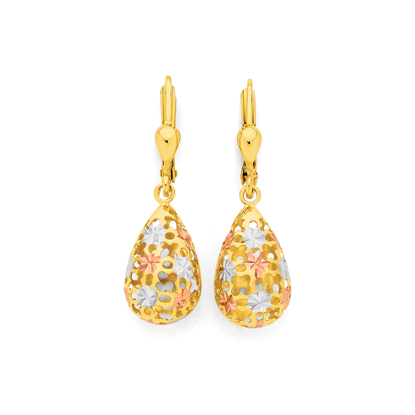 9ct Gold Tri Tone Pear Lever Back Drop Earrings