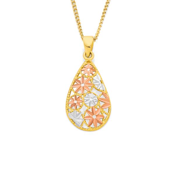 9ct Gold Tri Tone Pear Pendant