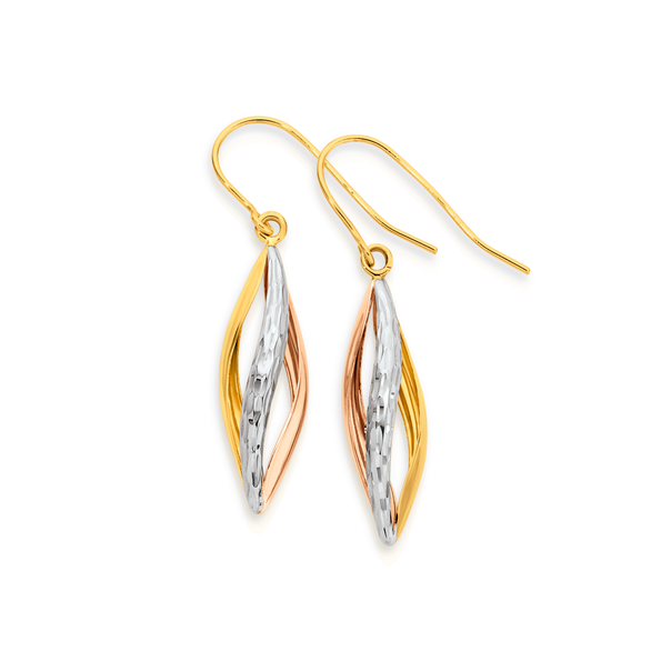 9ct Gold Tri Tone Pointed Twist Drop Earrings
