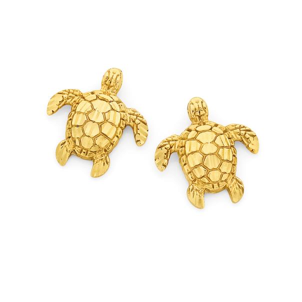 9ct Gold Turtle Stud Earrings