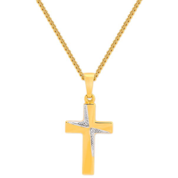 9ct Gold Two Tone 18mm Cross Pendant