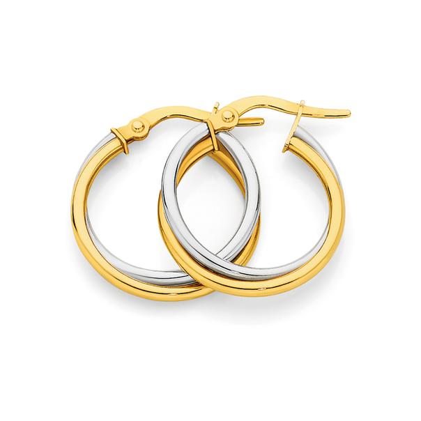 9ct Gold Two Tone 20mm Twist Hoop Earrings
