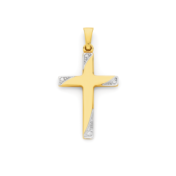9ct Gold Two Tone 24mm Cross Pendant
