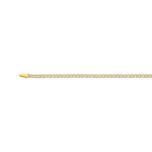 9ct Gold Two Tone 45cm Solid Diamond-Cut Curb Chain