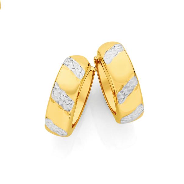 9ct Gold Two Tone 5x12mm Diamond-Cut Striped Huggie Earrings