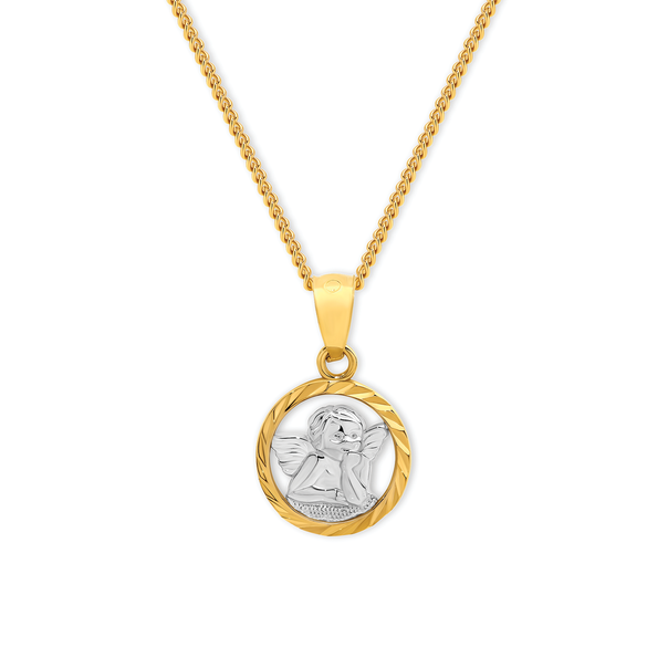9ct Gold Two Tone Angel Pendant