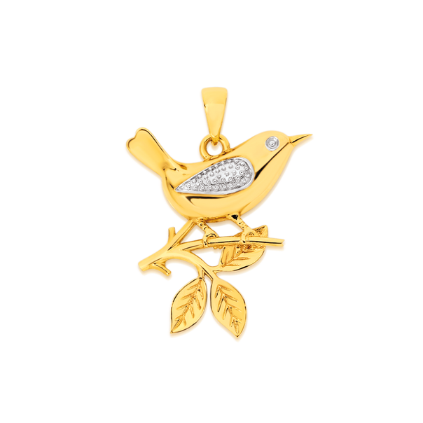 9ct Gold Two Tone Bird on Branch Pendant