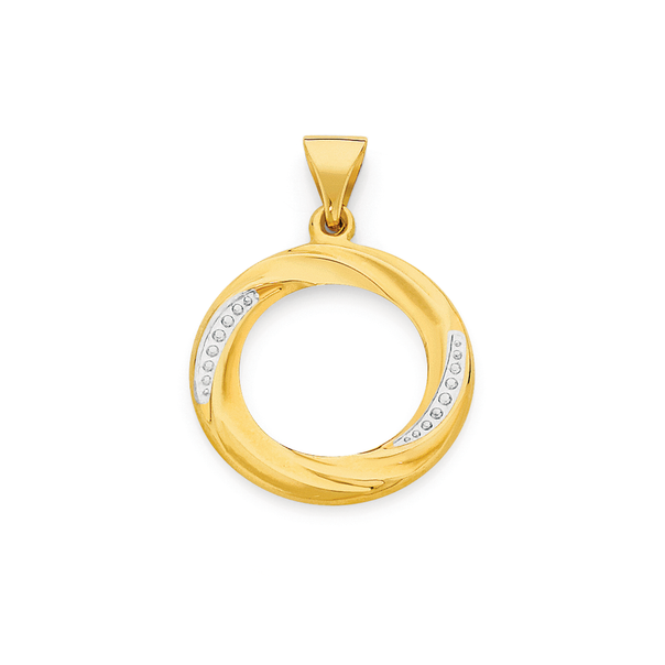 9ct Gold Two Tone Circle Pendant