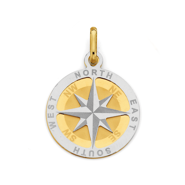 9ct Gold Two Tone Compass Pendant