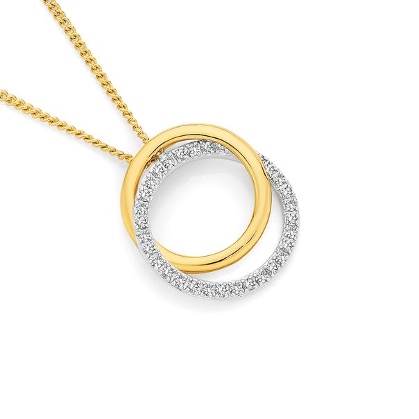 9ct Gold Two Tone Diamond Circle Pendant