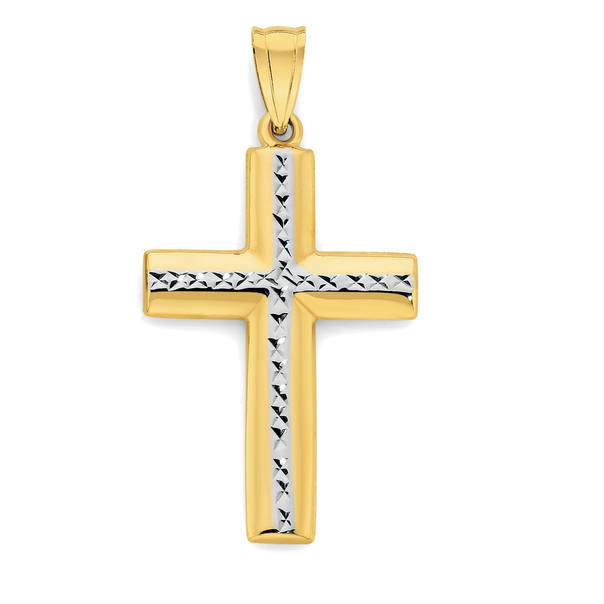 9ct Gold Two Tone Diamond-Cut Cross
