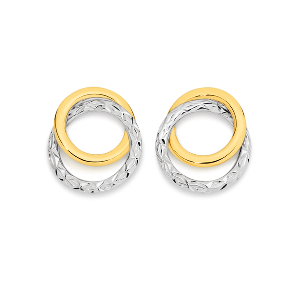 9ct Gold Two Tone Double Circle Stud Earrings