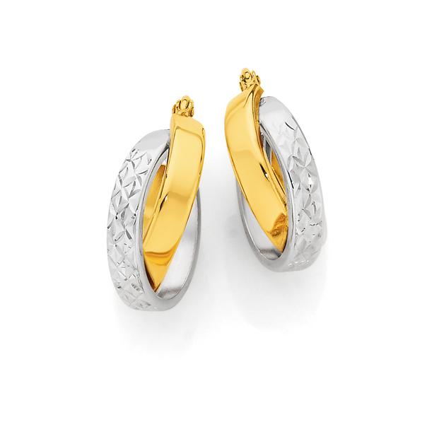 9ct Gold Two Tone Double Crossover Medium Hoop Earrings