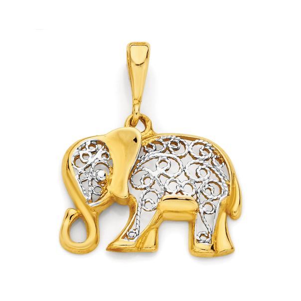 9ct Gold Two Tone Elephant Pendant