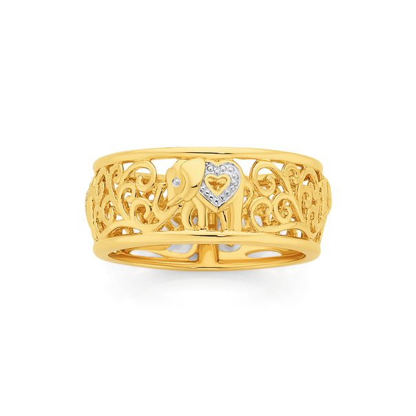 9ct Gold Two Tone Elephant Ring