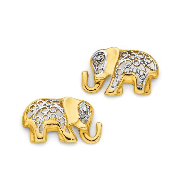 9ct Gold Two Tone Elephant Stud Earrings