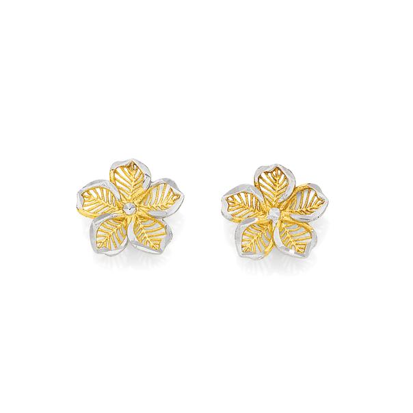 9ct Gold Two Tone Flower Stud Earrings