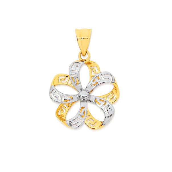 9ct Gold Two Tone Greek Key Flower Pendant