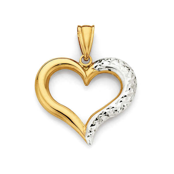 9ct Gold Two Tone Heart Pendant