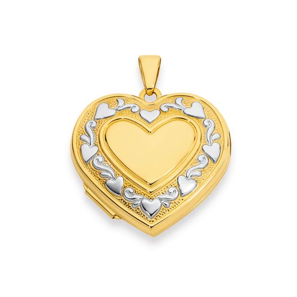 9ct Gold Two Tone Multi Hearts Locket