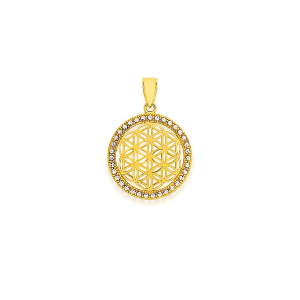 9ct Gold Two Tone Round Mandala Pendant