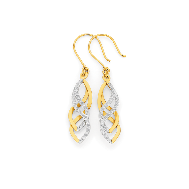 9ct Gold Two Tone Spiral Drop Earrings