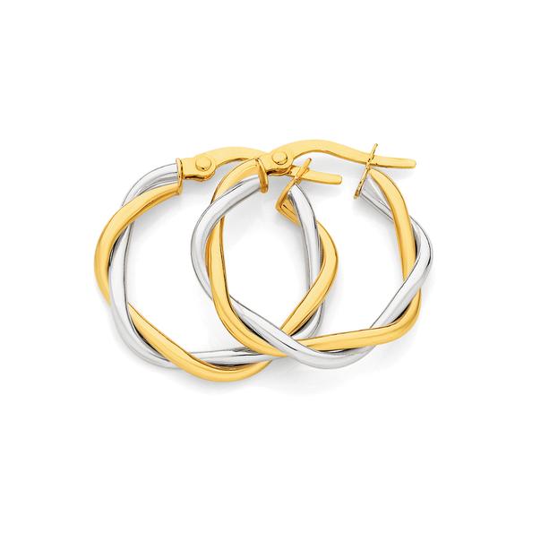 9ct Gold Two Tone Twist Medium Hoop Earrings