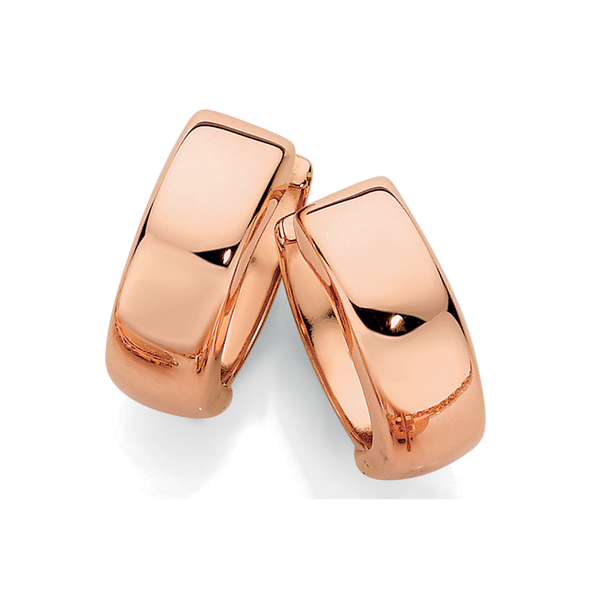 9ct Rose Gold 10mm Polished Huggie Earrings