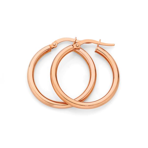 9ct Rose Gold 2.5x20mm Hoop Earrings
