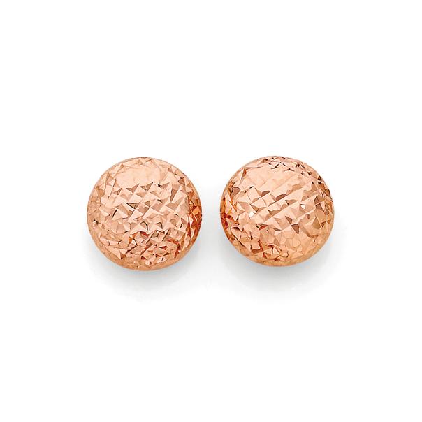 9ct Rose Gold 8mm Diamond-Cut Stud Earrings