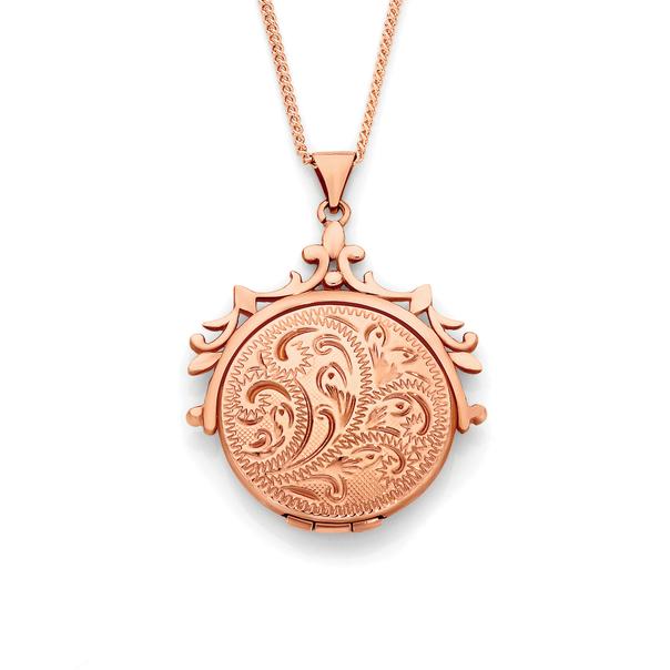 9ct Rose Gold Engraved Spinner Locket