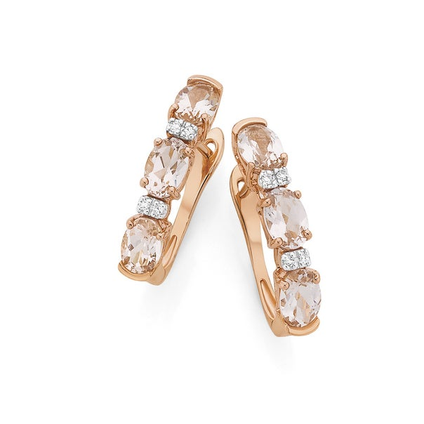 9ct Rose Gold Morganite with Diamond Accents Huggie Earrings