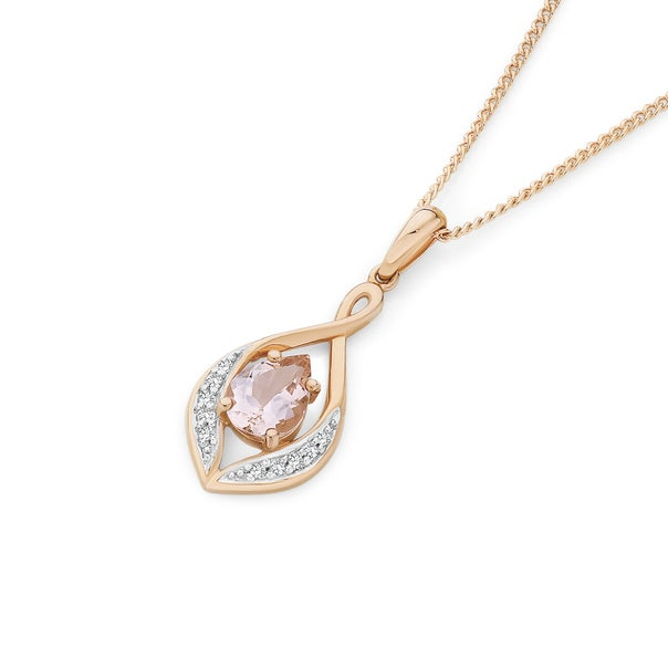 9ct Rose Gold Pear Cut Morganite with Diamond Accents Open Teardrop Pendant