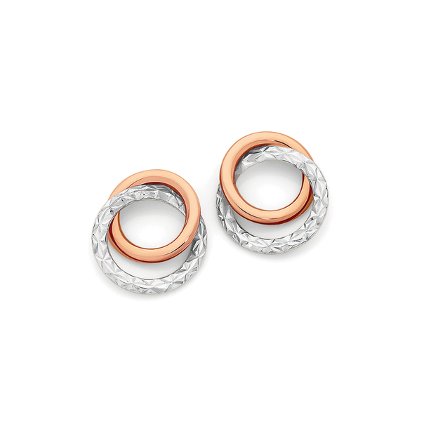 9ct Rose Gold Two Tone Double Circle Stud Earrings