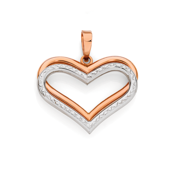 9ct Rose & White Gold Double Heart Pendant
