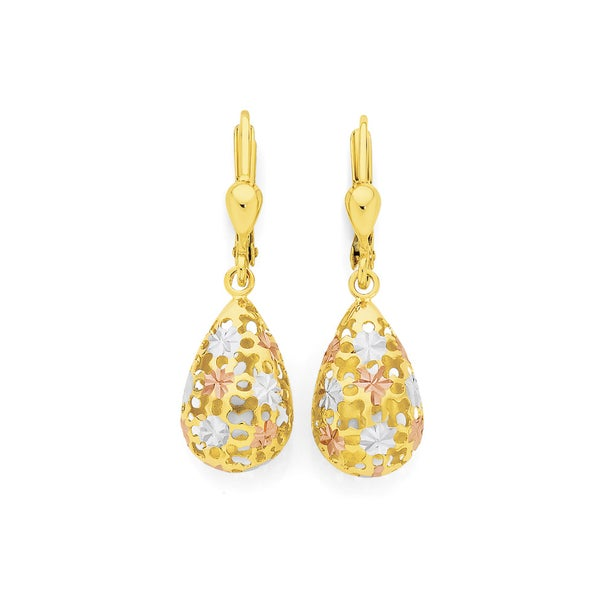 9ct Tri Tone Gold Pear Lever Back Drop Earrings