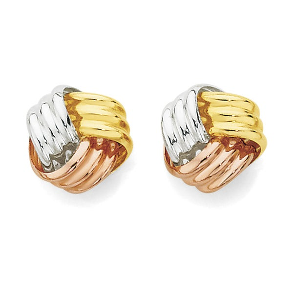 9ct Tri Tone Gold Small Knot Stud Earrings