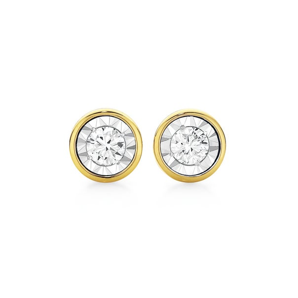 9ct Two Tone Gold Diamond Bezel Set Stud Earrings
