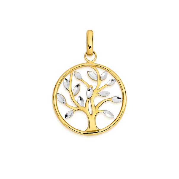 9ct Two Tone Gold Diamond-cut Tree of Life Pendant