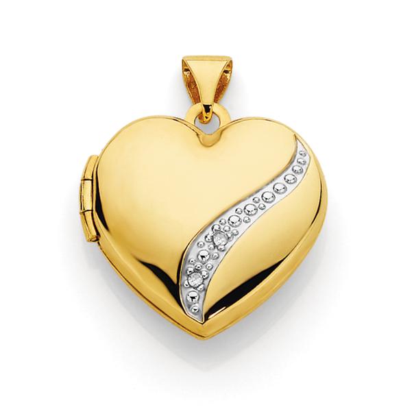 9ct Two Tone Gold Diamond Heart Locket