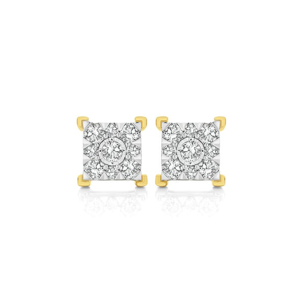 9ct Two Tone Gold Diamond Square Cluster Stud Earrings