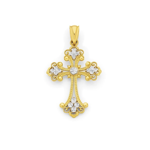 9ct Two Tone Gold Fancy Cross Pendant
