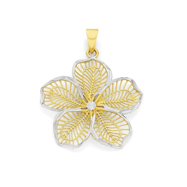 9ct Two Tone Gold Flower Pendant